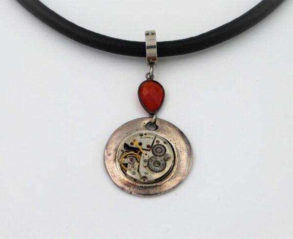 collier cuir et argent femme